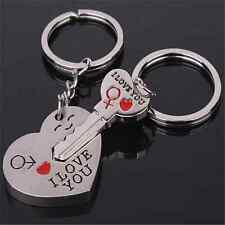 Love Gift Heart Key Keyring Set Keychain Ring Lover Valentine's Day Gift 1 Pair
