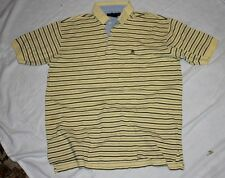 TOMMY HILFIGER Short Sleeve Polo Shirt SIZE XL YELLOW Stripped Vintage