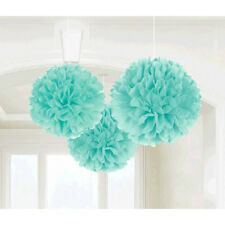 ROBINS EGG BLUE FLUFFY DECORATIONS (3) ~ Birthday Baby Shower Wedding Supplies