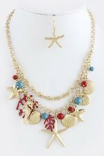 D27 Layered Gold Seashell Starfish Red Coral Charm Necklace Boutique