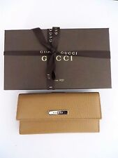 "NEW GUCCI  LEATHER ""TAN Saffron"" Continental  Wallet / Gift box Ribbon"