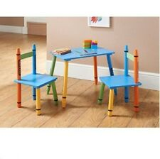 Children Wooden Table And Chairs Set Crayon Design Solid Wood Kids Furniture 3+