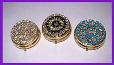 Lot of 3 Pill Box Pillbox Cases with Swarovski Crystal Rhinestones!