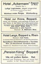 """Boppard a.Rh. HOTEL Ackermann, HOTEL zur Krone, HOTEL Lange """"Pension König"""" 1910"""