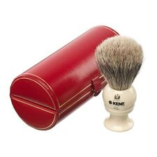 Kent BK4 Shaving Brush Pure Badger Silver Tip IVORY Handle MEDIUM Sized Bristle