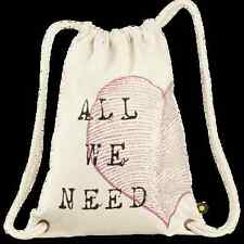 LIfe Is Good Engraved Heart Messaging Cinch Sack Backpack Natural Canvas NEW NWT