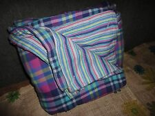 TOMMY HILFIGER NATE PLAID BLUE GREEN PINK MADRAS STRIPE FULL/ QUEEN DUVET 83X88