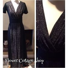 Vintage Elegant 70s Long Black Crimplene & Silver Lurex Evening Dress Size 8
