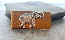 Handmade Embossed Brass Elephant Money Clip
