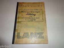 Ersatzteiliste / Teilekatalog Lanz Alldog Motorgeräteträger Stand 1954