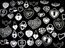 30g x Tibetan Silver Random Mixed Hearts Charms Pendants Love Valentine P30