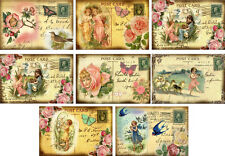 Vintage inspired Angel Post Card notes tags ATC altered art set of 8