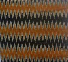 Cotton handwoven Ikat fabric - mustard yellow black steel gray chevron