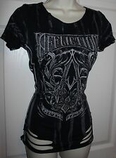NWOT  Sexy Embellished Affliction Sinful Bling Smoked Out A Frame T-shirt Small