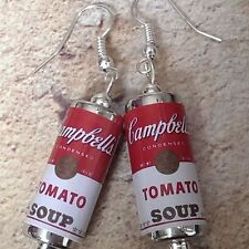 Unique CAMPBELL'S TOMATO SOUP EARRINGS handcrafted POP ART andy warhol ICONIC