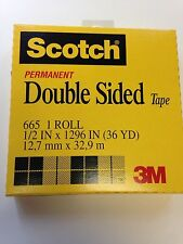 """Scotch Permanent Double-Sided Tape, 1/2"""" x 36 Yard Roll - NEW"""