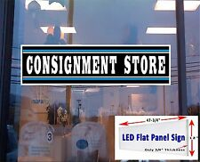 """LED Flat panel Light Box Sign - CONSIGNMENT STORE  48""""x12"""" Window Sign"""