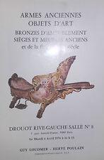 1976 Catalogue de Vente Drouot ARMES ANCIENNES OBJETS D ART BRONZES FIN XIXè