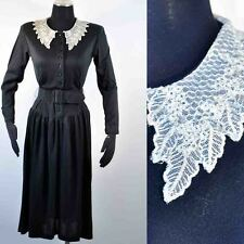 Vintage 80's Belted Shirt Waist Dress Lace Collar 7/8