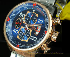 17203 Invicta 48mm Men AVIATOR Swiss Quartz Chronograph Blue Dial Bracelet Watch