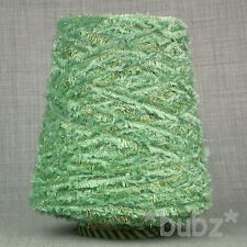LIME GREEN & GOLD LUREX DK 4 PLY FEATHER YARN 350g CONE 7 BALLS FUR FURRY FUNKY