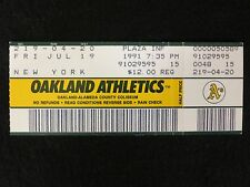 OAKLAND A'S VS NEW YORK YANKEES 7/19/91 VINTAGE TICKET STUB EXCELLENT CONDITION