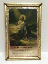 Vintage Jesus Praying In Garden Of Gethsemane Religious Gilt Framed Picture