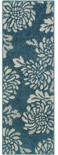 "Floral Blue Area Runner Rug 20"" x 60"" Hallway Entryway Bedroom"