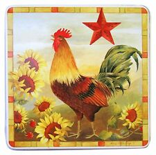 "Gas Stove Burner Covers Set of 4 Country Rooster 9"" Decorative Plates Square"