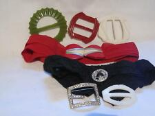 Lot Vntg Art Deco Belt Buckles/Belts Plastic/Rhinestones/Fabric Belts Ledo Pin