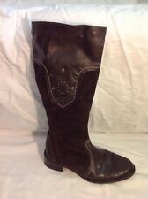 Rieker Dark Brown Knee High Leather Boots Size 37