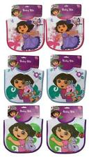 NEW GIRLS 6 PACK BIB WHOLESALE SET DORA THE EXPLORER BABY TODDLER NICKELODEON
