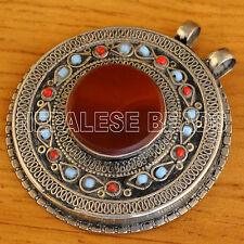 UP2393 One of a kind Old Afghani Silver Carnelian Agate Pendant Nepal