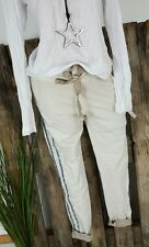 NEU ITALY BAGGY SWEAT JOGPANTS HOSE GLITTER STRIPES WASHED BEIGE 36-40