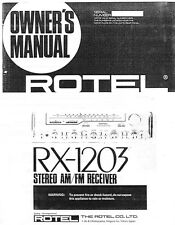 Rotel RX-1203 Receiver Owners Manual