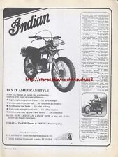 "Indian ""Try It American Style"" Motorcycle 1975 Magazine Advert #1736"