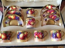 Superb 1934/35 Royal Worcester Cased Set of Fruit & Gilt Coffee Cans & Saucers