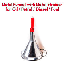 Metal Funnel with Metal Strainer Oil Petrol Diesel Water Fuel Car Van Garage RS