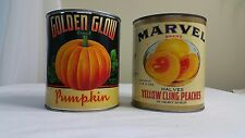 VINTAGE CAN YELLOW CLING PEACHES MARVEL BRAND AND GOLDEN GLOW BRAND PUMPKIN CAN