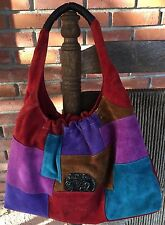Laurel Burch Cats Suede Patchwork Hobo Shoulder Bag
