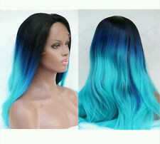 Ladies Ombre Black/Blue/Turquoise Long Straight Synthetic Fiber Lace Front Wig