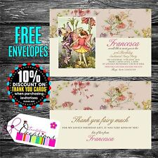 Personalised Birthday Invitations Flower Fairies x 5