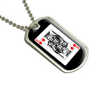 Playing Cards King of Hearts - Poker - Military Dog Tag Keychain