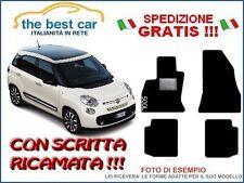 Tappetini auto personalizzati per Fiat 500L, con battitacco e scritta ricamata