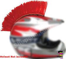 Red Helmet Mohawk Hair Stick On Biker Ski Motorcycle Snowboard Race ATV MX NEW