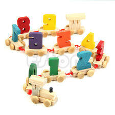 Children Toddlers New Baby 0-9 Number Digital Small Wooden Train Educational Toy