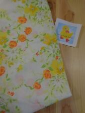 Vintage Bed Sheet FULL SIZE Fitted Only Orange Yellow Floral JC Penney Percale