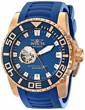 New Invicta Pro Diver 14683 Open Heart Rose Gold Blue Rubber Automatic Watch
