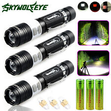 3x Skywolfeye 10000LM 3-Mode CREE XM-L T6 LED USB Rechargeable 18650 Torch Light