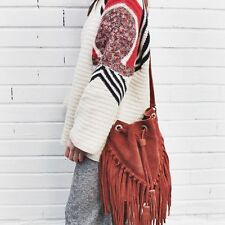 ZARA BRICK LEATHER FRINGED BOHO BUCKET BAG HANDBAG BLOGGERS FAVE SOLD OUT